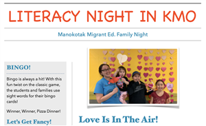 Screenshot of Family Night newsletter