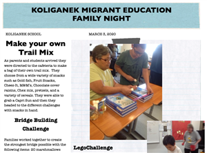 Screenshot of the Migrant Education Newsletter
