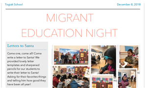 Screenshot of Togiak migrant family night newsletter