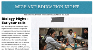 Screenshot of Aleknagik migrant family night newsletter