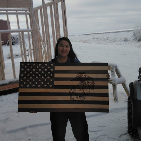 An American flag woodworking project.