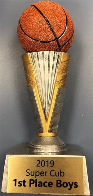 "Basketball trophy with the label ""2019 Super Cub 1st Place Boys"""