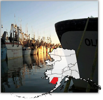 Fishing Vessels in Dillingham Harbor with overlayed map of Bristol Bay location in Alaska