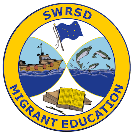 Migrant Logo with fishing boat, alaska flag, fish, and books